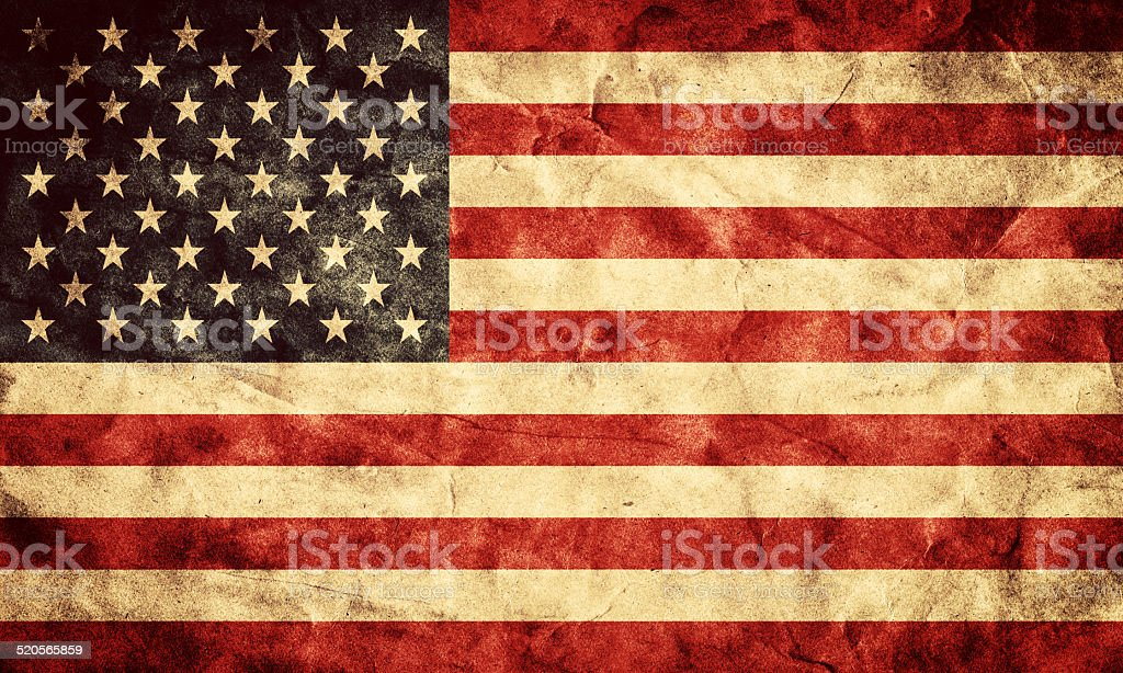 USA grunge flag. Item from my vintage, retro flags collection stock photo