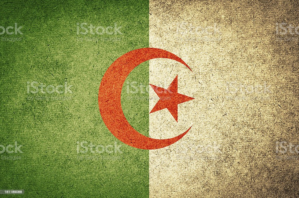 grunge Flag of algeria stock photo