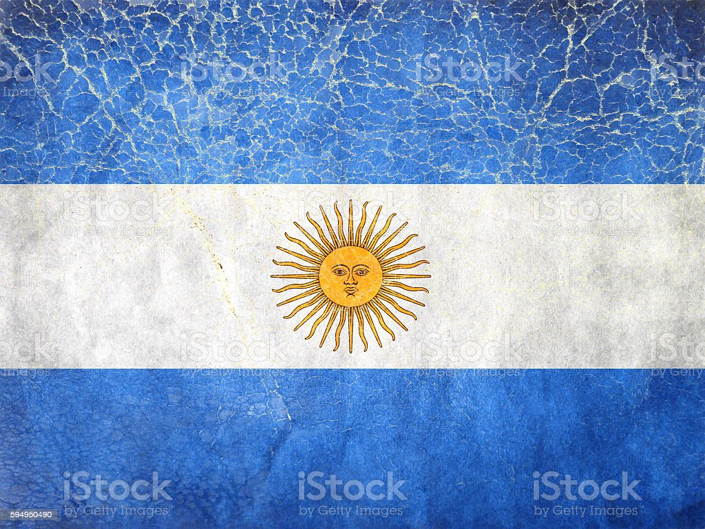 Grunge Flag of Argentina, painted on a grunge leadher stock photo