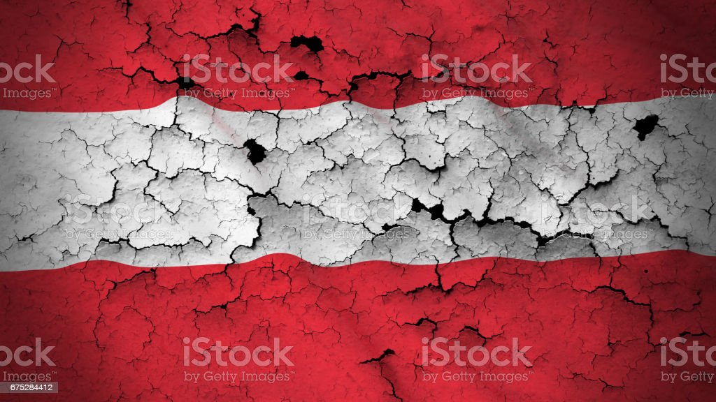 Grunge Flag of Austria - Cracked Austrian Flag 3D Illustration stock photo