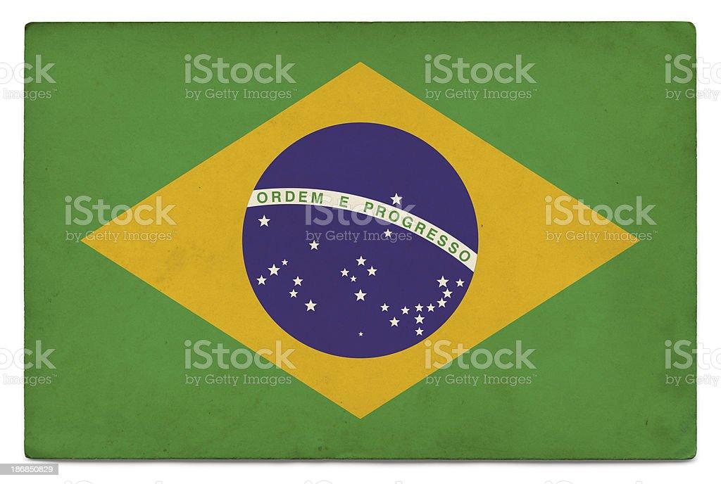 Grunge flag of Brazil on white royalty-free stock photo