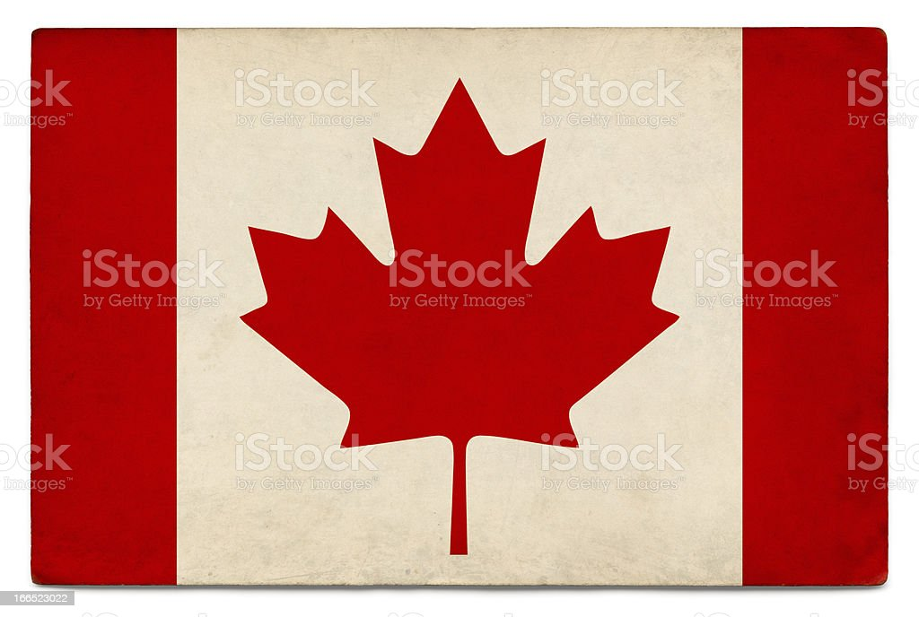 Grunge flag of Canada on white stock photo