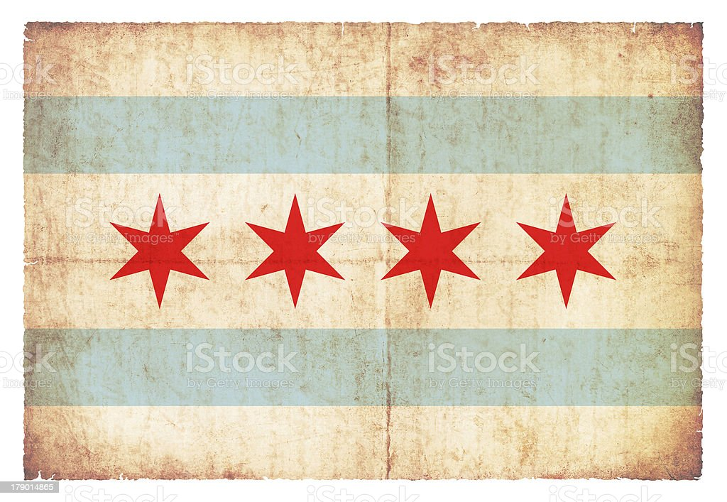 Grunge flag of Chicago (USA) stock photo