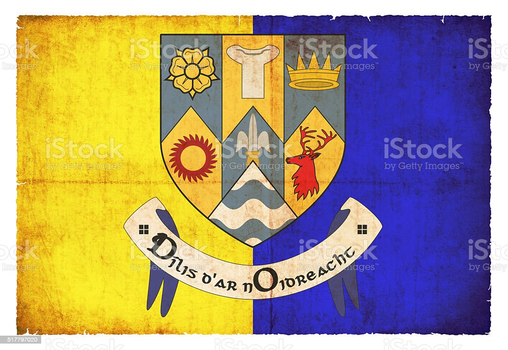 Grunge flag of Clare (Ireland) stock photo