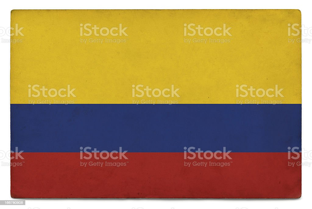 Grunge flag of Colombia on white stock photo