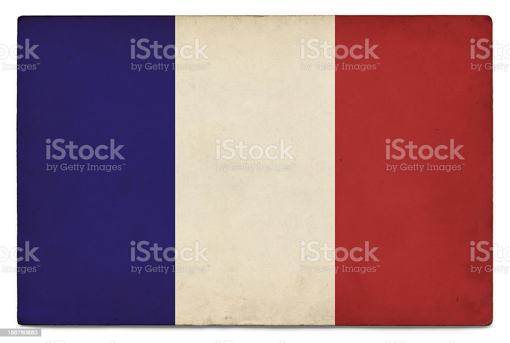 Grunge flag of France on white royalty-free stock photo