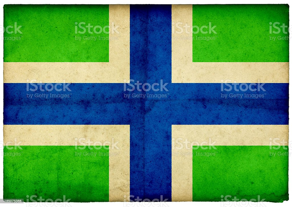 Grunge Flag of Gloucestershire on rough edged old postcard stock photo