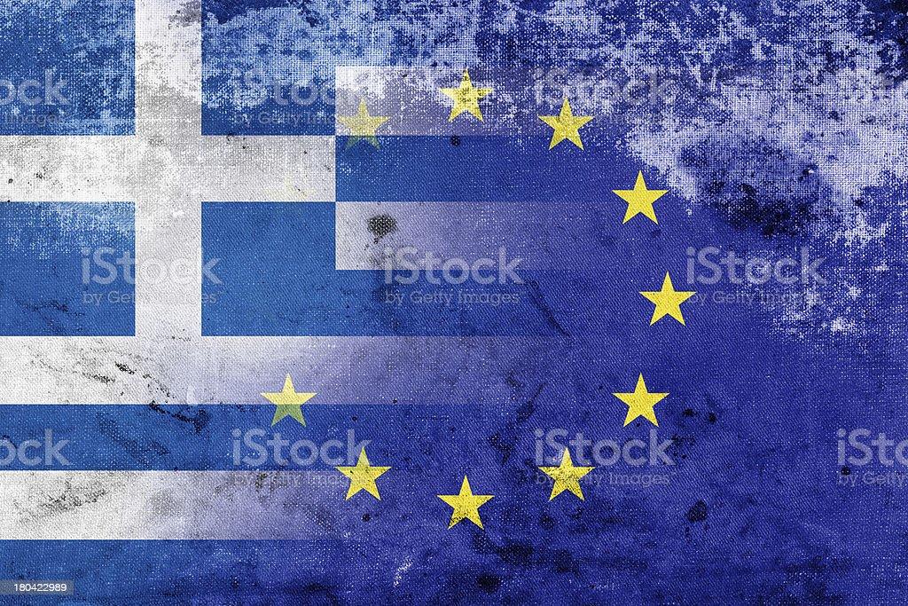 Grunge Flag of Greece and European Union stock photo