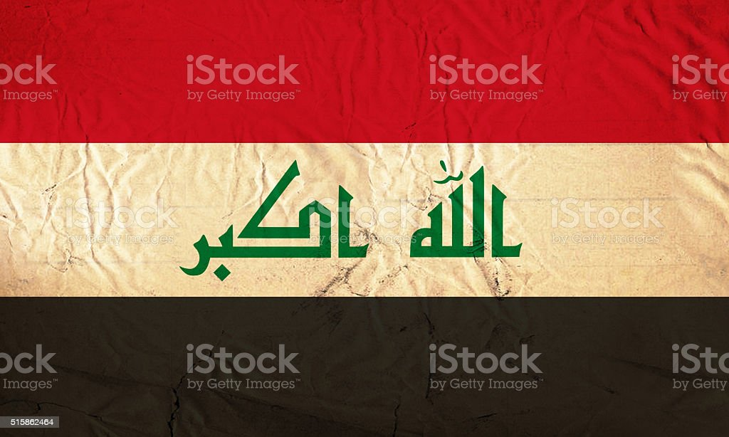 Grunge flag of Iraq stock photo