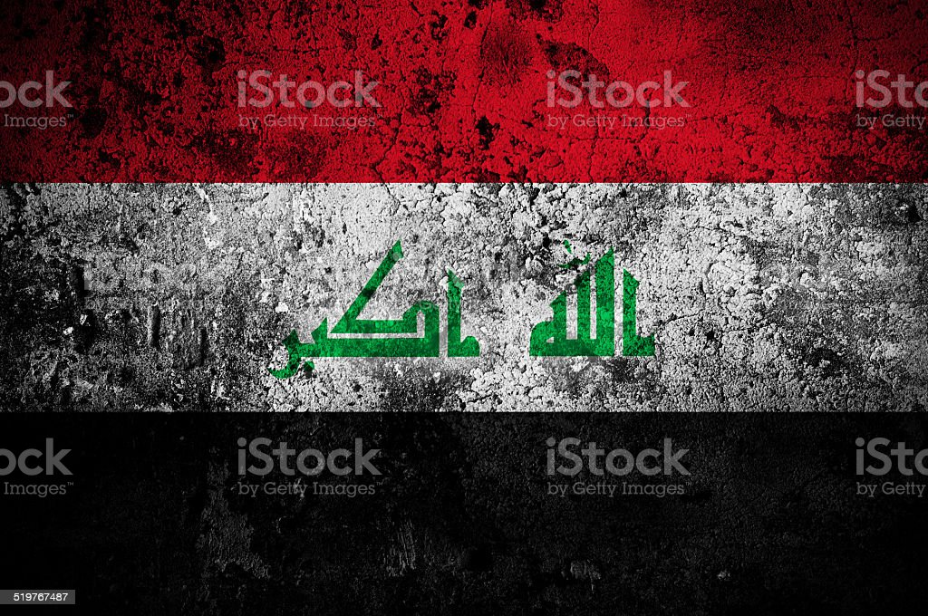 grunge flag of Iraq with capital in Baghdad stock photo