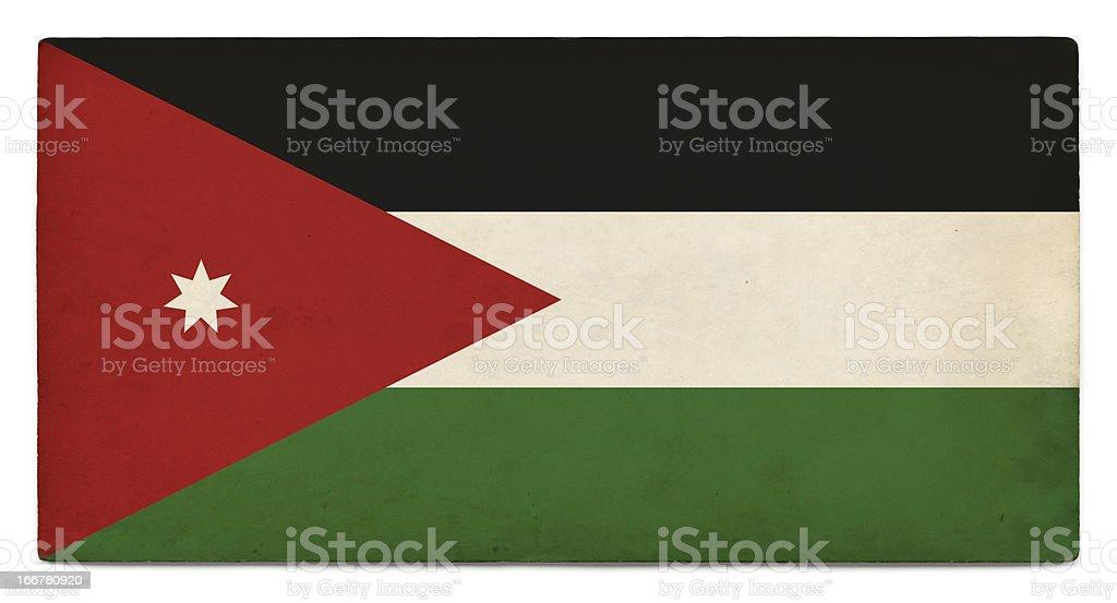 Grunge flag of Jordan on white stock photo