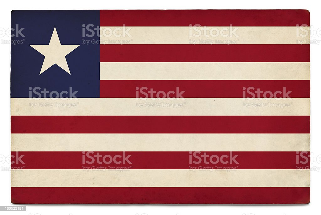 Grunge flag of Liberia on white stock photo