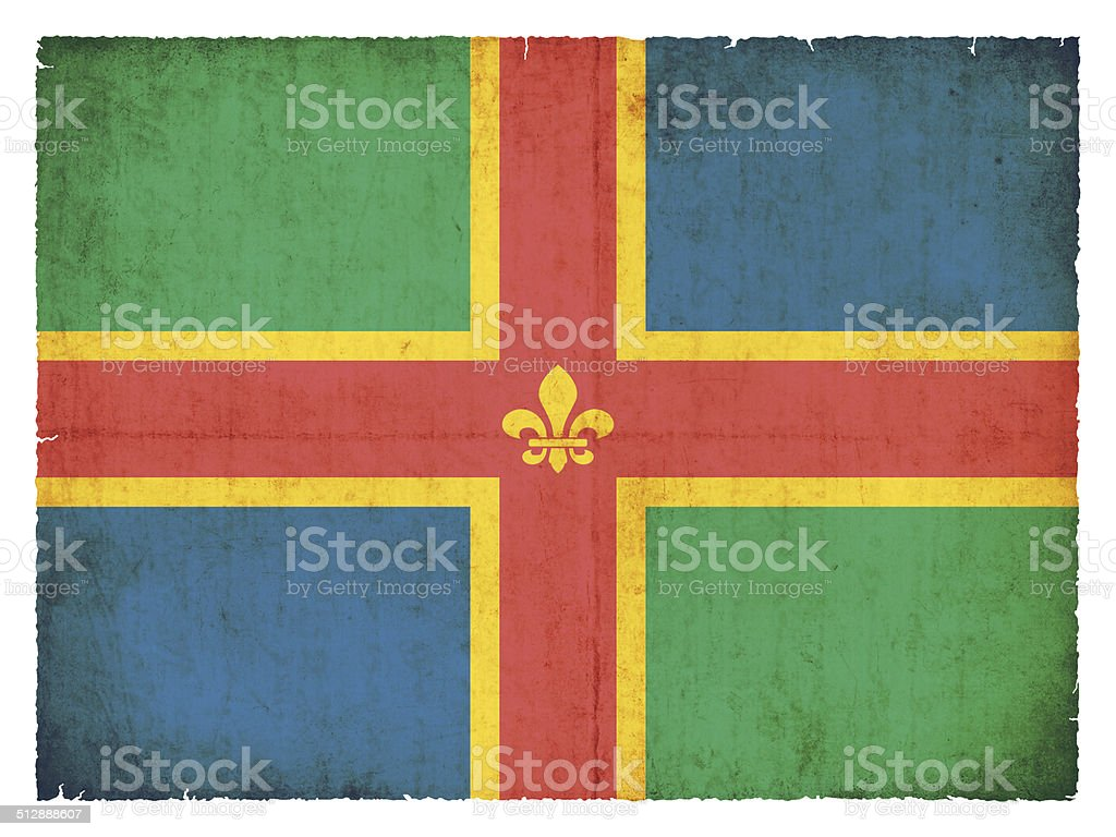 Grunge flag of Lincolnshire (Great Britain) stock photo