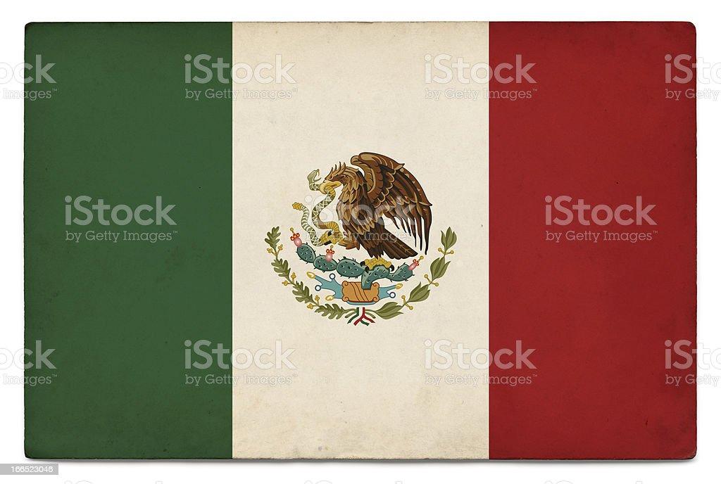 Grunge flag of Mexico on white stock photo
