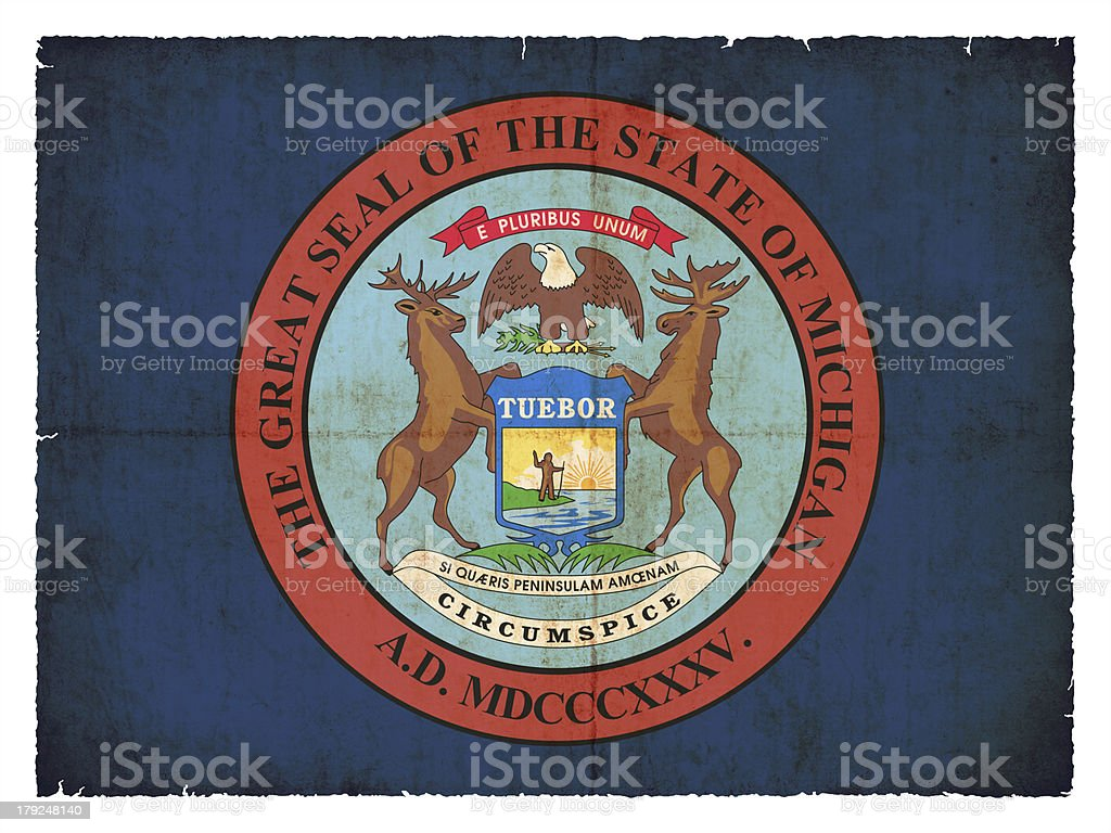 Grunge flag of Michigan (USA) royalty-free stock photo