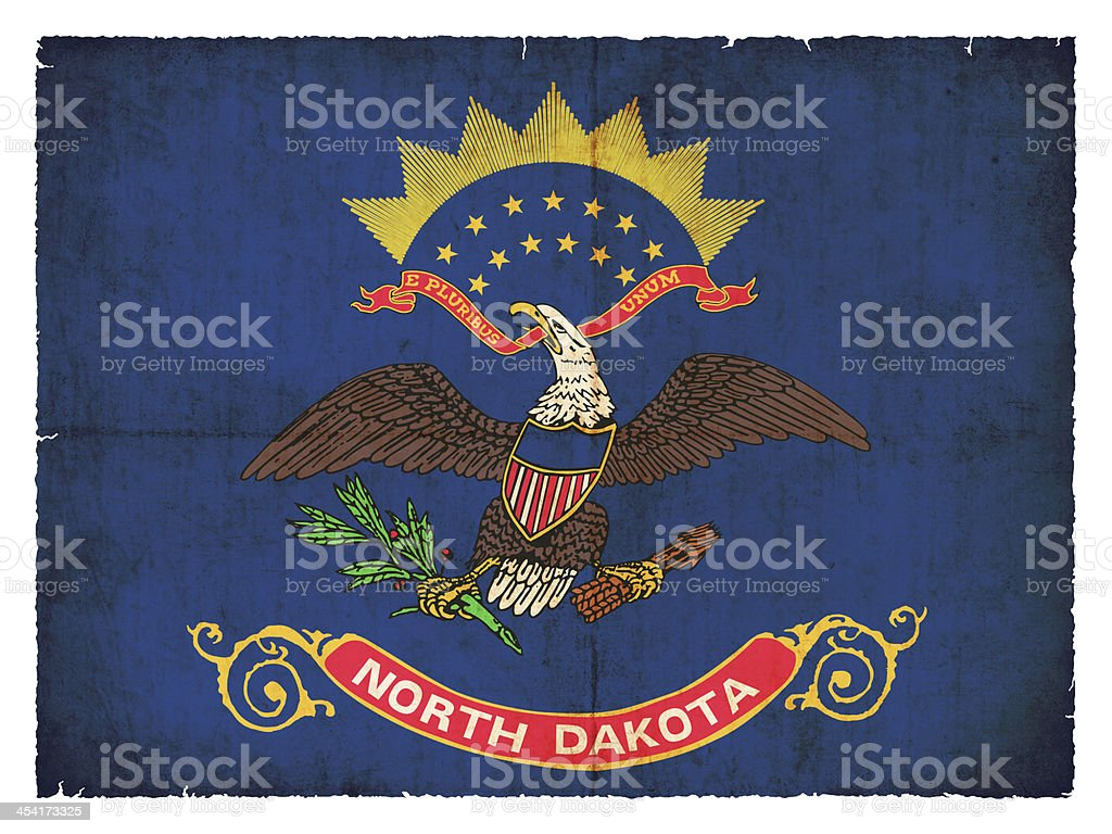 Grunge flag of North Dakota (USA) stock photo