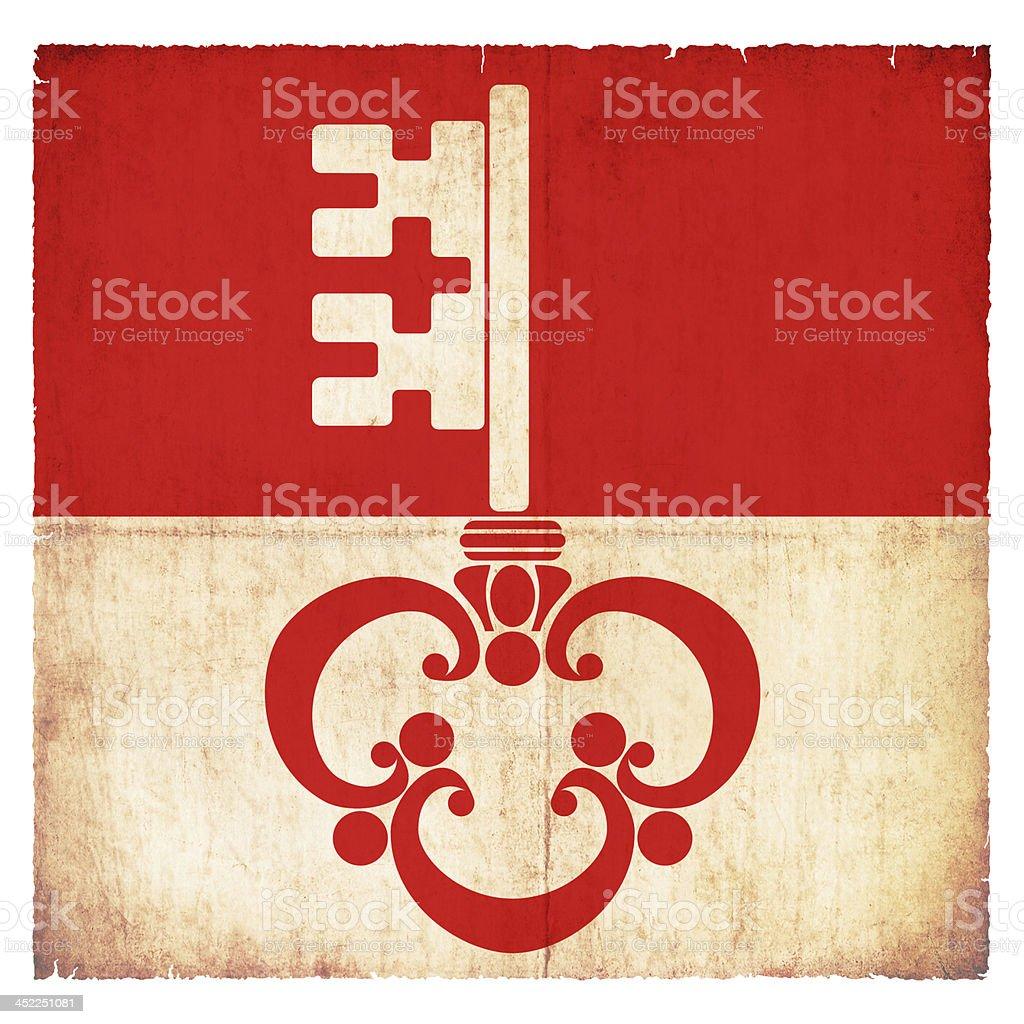 Grunge flag of Obwalden (Switzerland) stock photo