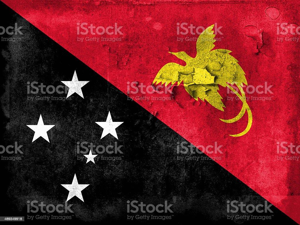 Grunge flag of Papua New Guinea stock photo