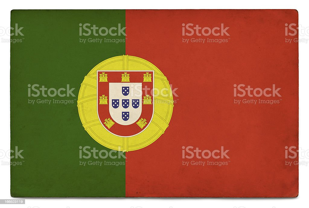 Grunge flag of Portugal on white royalty-free stock photo