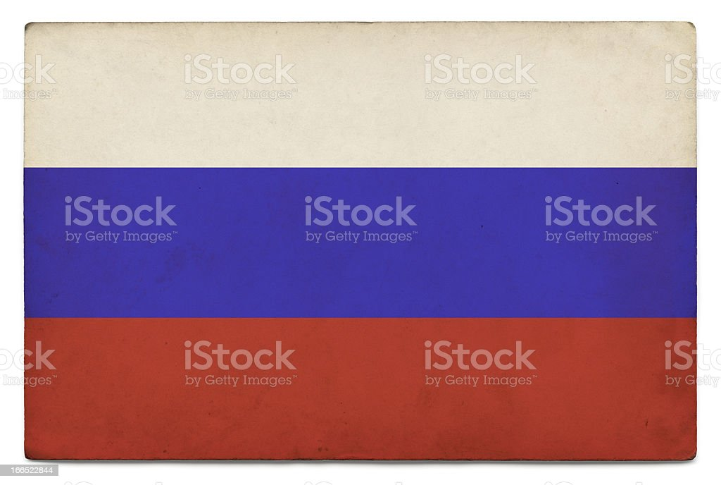 Grunge flag of Russia on white stock photo