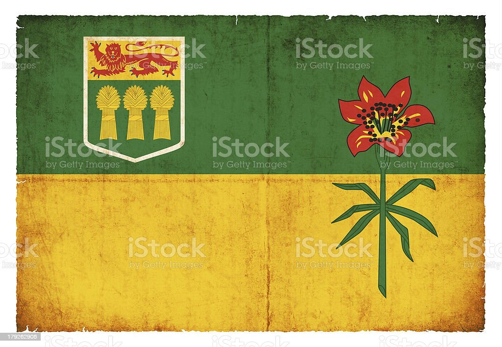 Grunge flag of Saskatchewan (Canadian province) stock photo