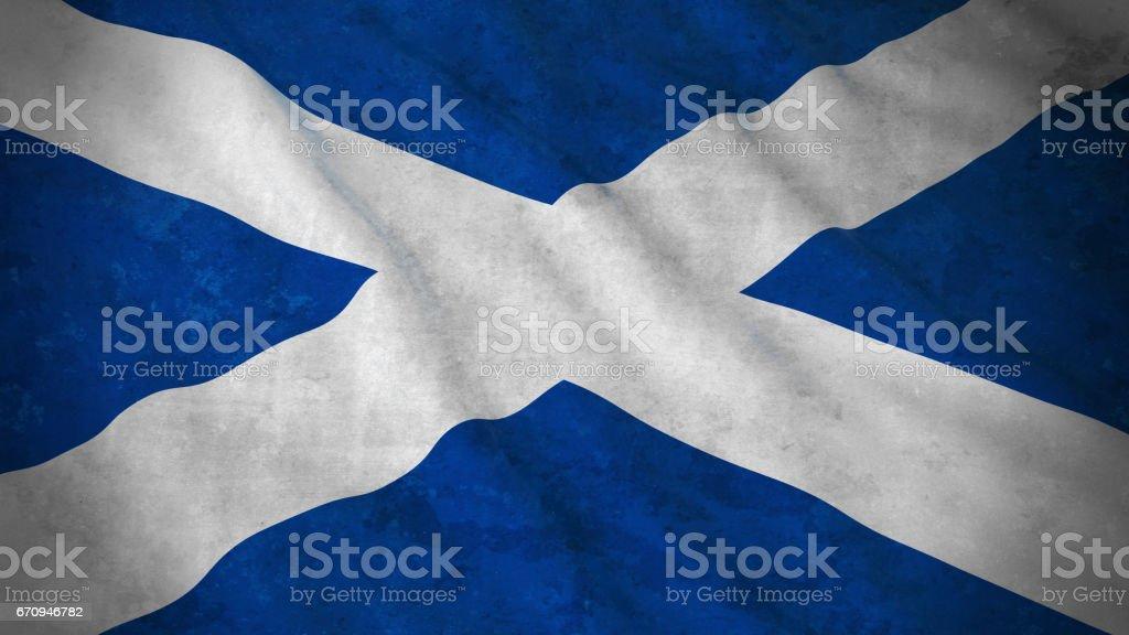 Grunge Flag of Scotland - Dirty Scottish Flag 3D Illustration stock photo