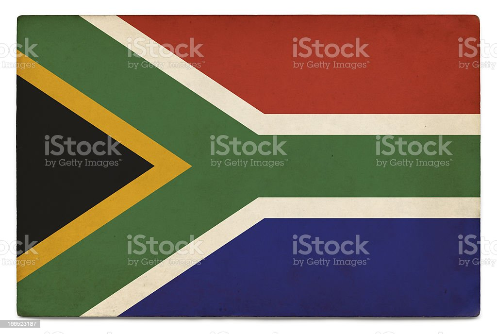 Grunge flag of South Africa on white royalty-free stock photo