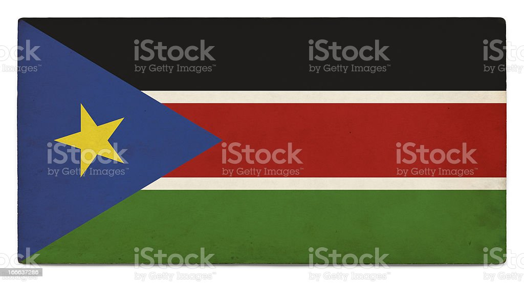 Grunge flag of South Sudan on white stock photo
