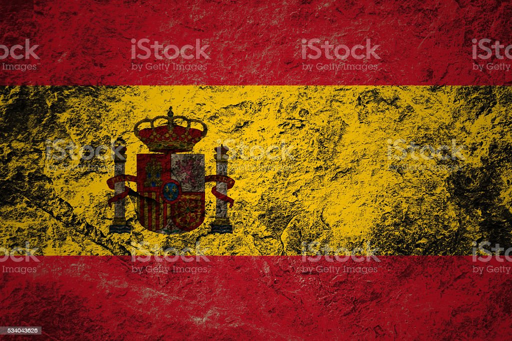 Grunge flag of Spain on stone background stock photo