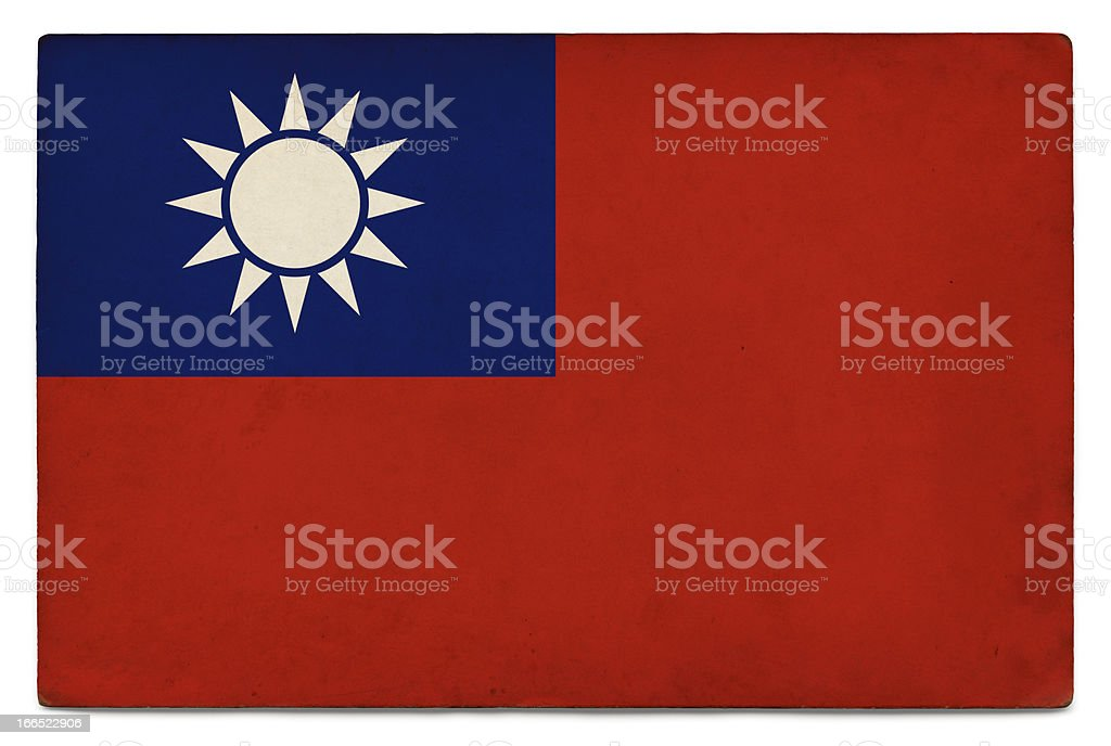 Grunge flag of Taiwan on white royalty-free stock photo