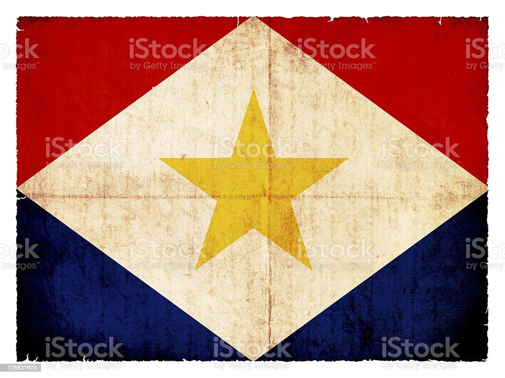 Grunge flag of  the Caribbean island Saba royalty-free stock photo