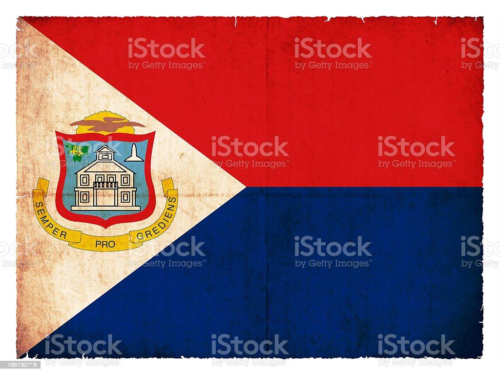 Grunge flag of the Caribbean island Sint Maarten (Netherlands) royalty-free stock photo