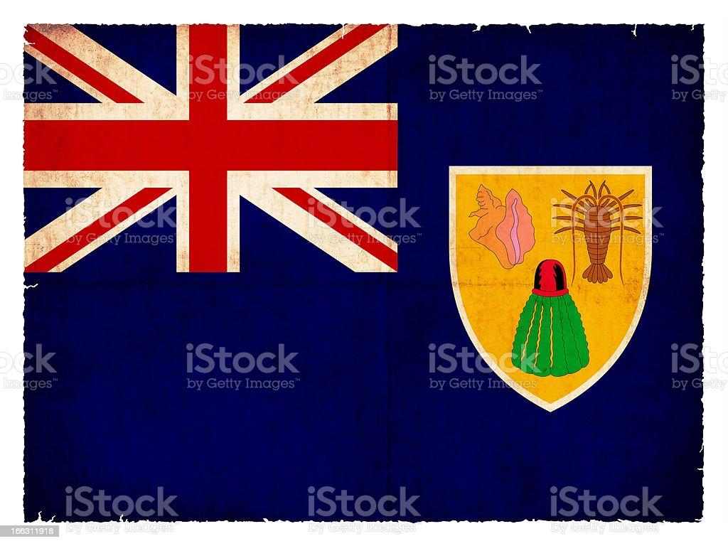 Grunge flag of the Caribbean islands Turks  (British overseas te royalty-free stock photo