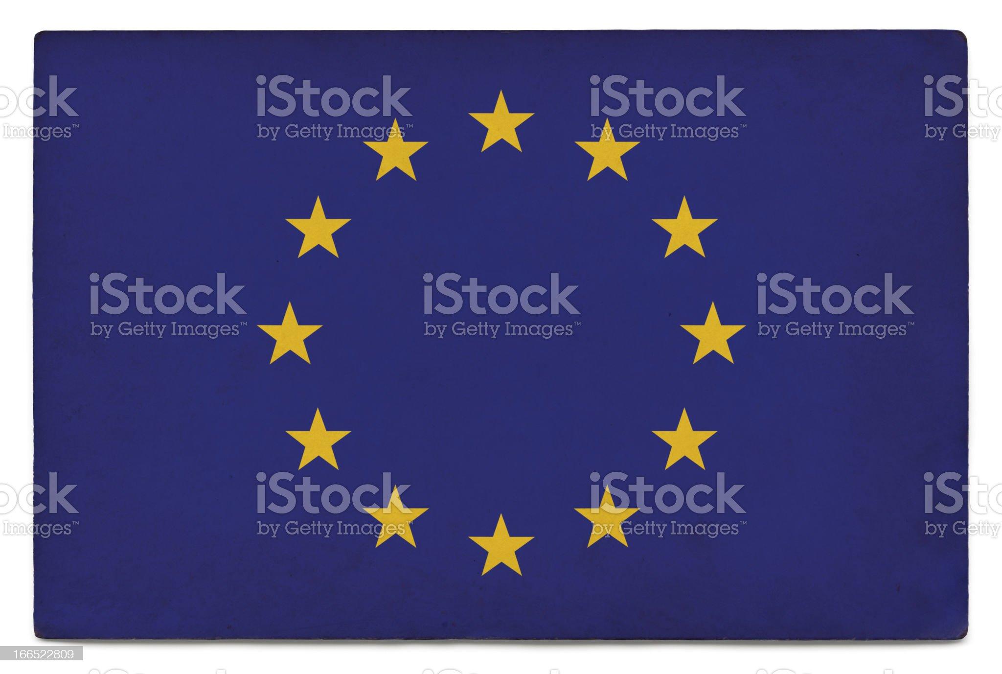 Grunge flag of the European Union on white royalty-free stock photo