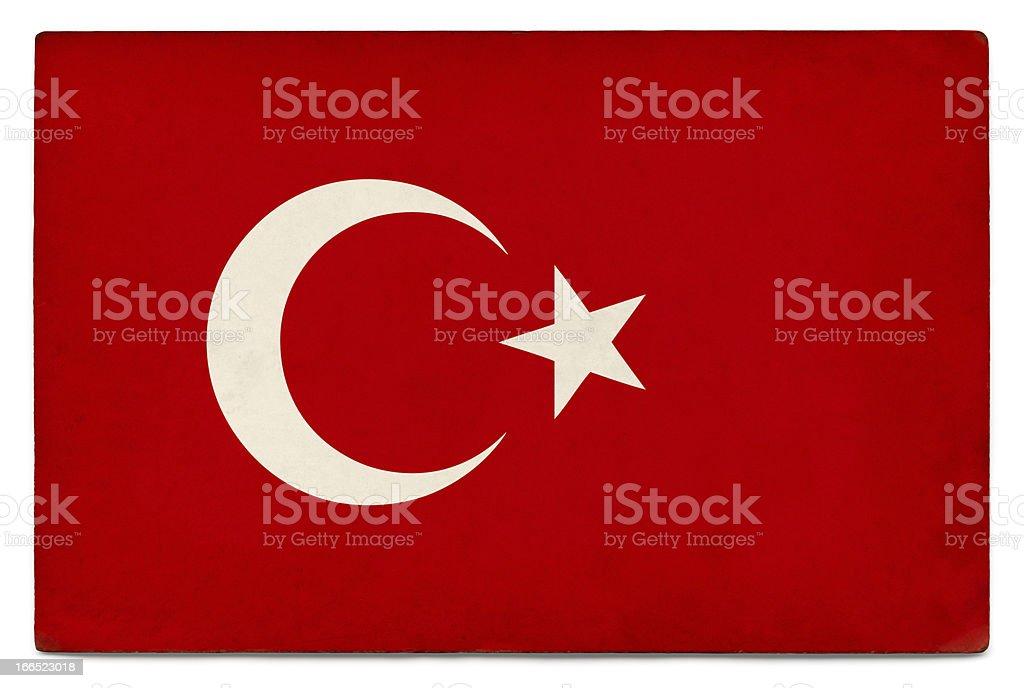 Grunge flag of Turkey on white royalty-free stock photo