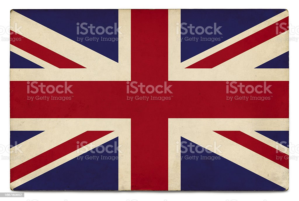 Grunge flag of UK on white stock photo