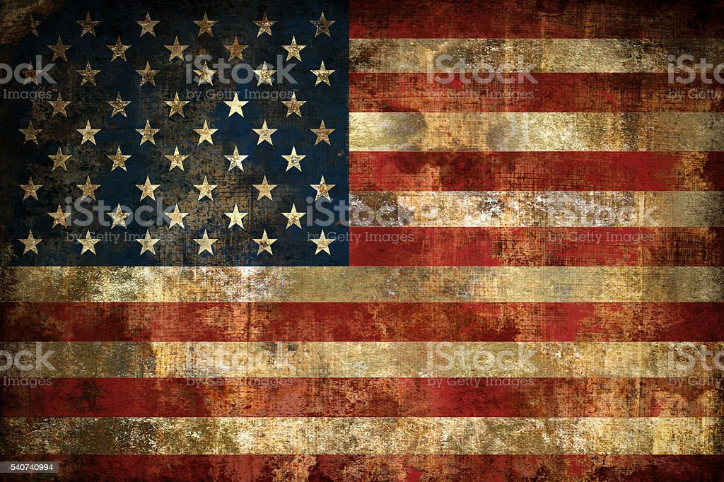 Grunge Flag of USA, painted on a cotton fabric stock photo
