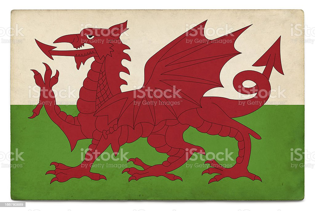 Grunge flag of Wales on white stock photo