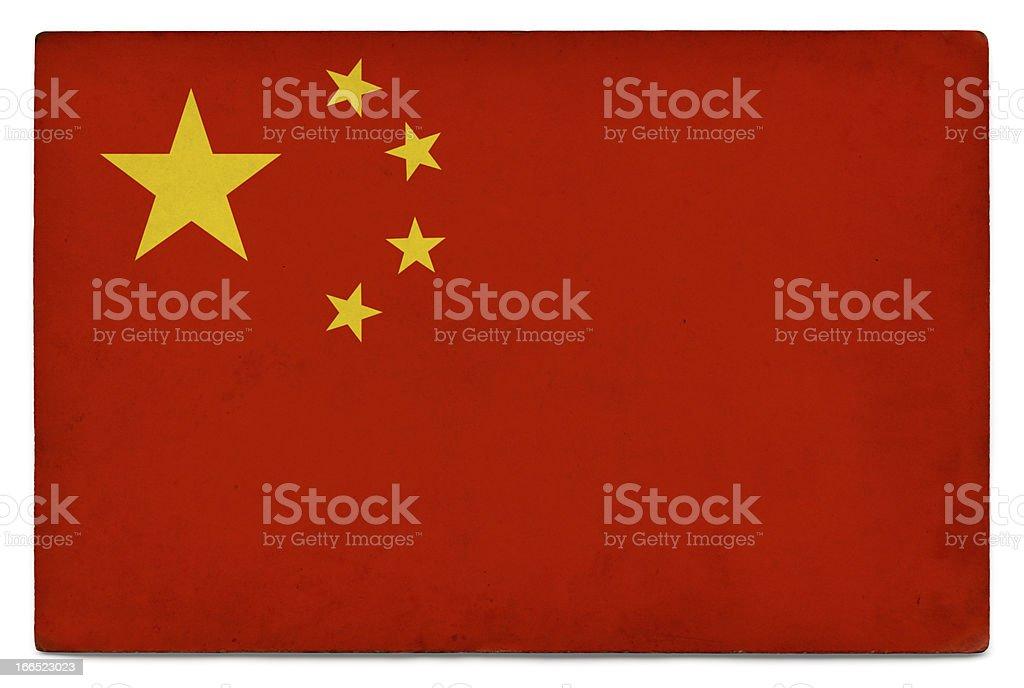 Grunge flag: People's Republic of China on white royalty-free stock photo
