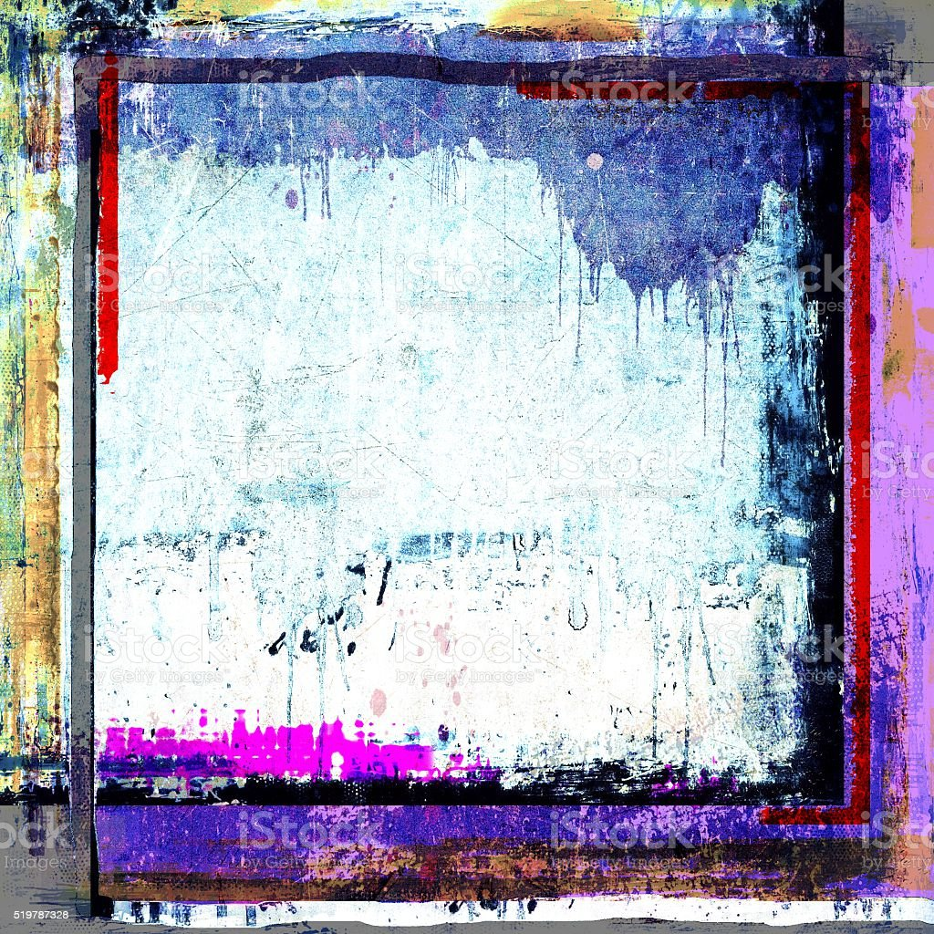 Grunge frame borders background. Blue, red, white and magenta. stock photo
