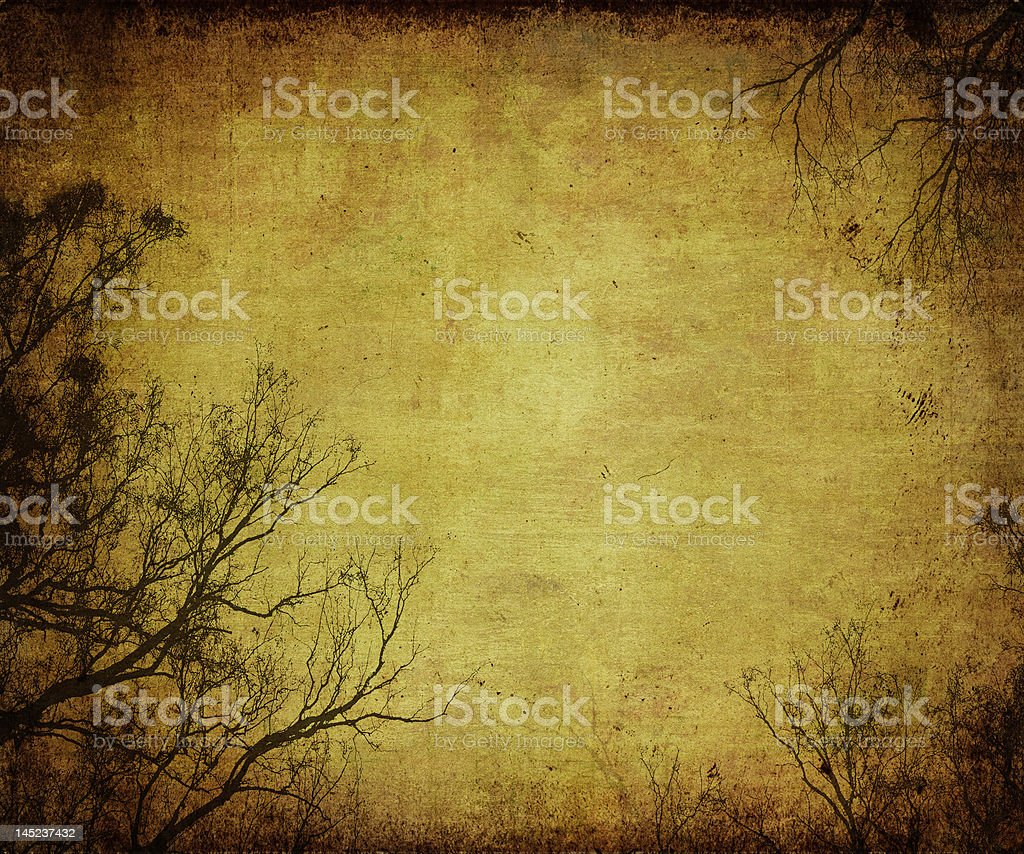 grunge frame with tree silhouettes royalty-free stock photo