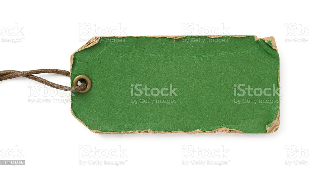 grunge green tag with brown thread stock photo