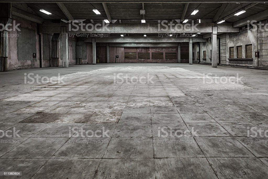 Grunge hall of abandoned factory stock photo