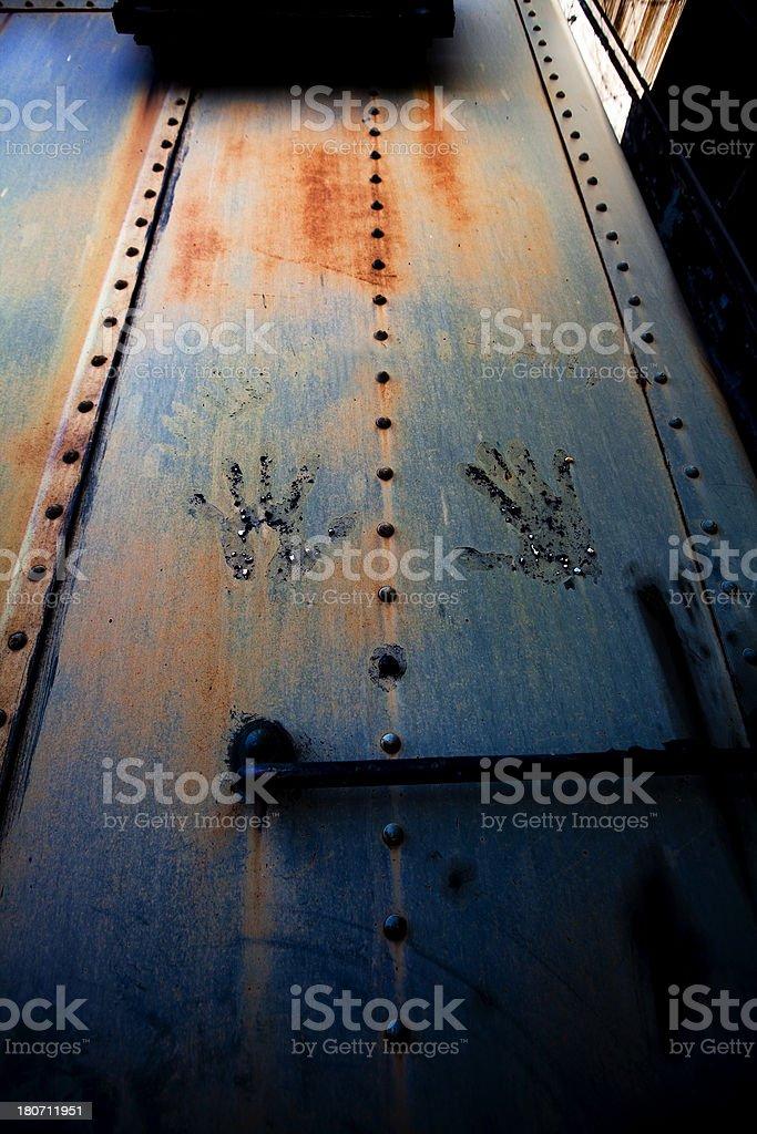 Grunge Handprints on Metal royalty-free stock photo