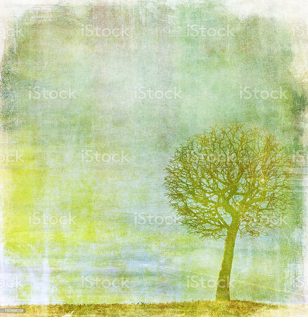 grunge image of a tree on vintage paper royalty-free stock photo