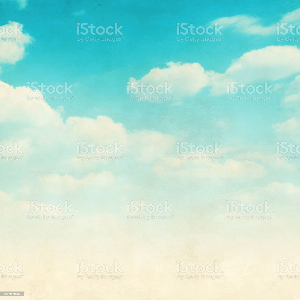 Grunge image of blue sky with clouds. stock photo
