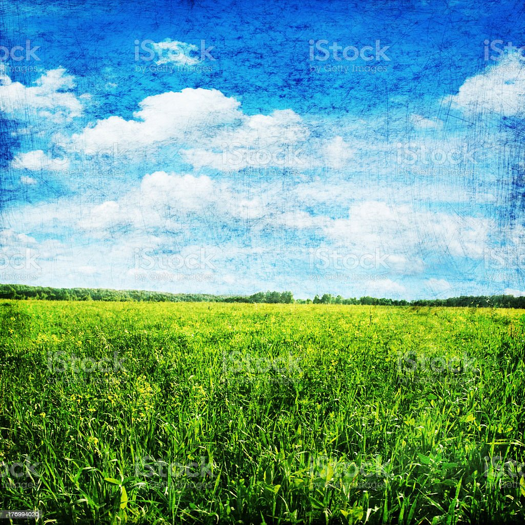 Grunge image of field and sky. stock photo