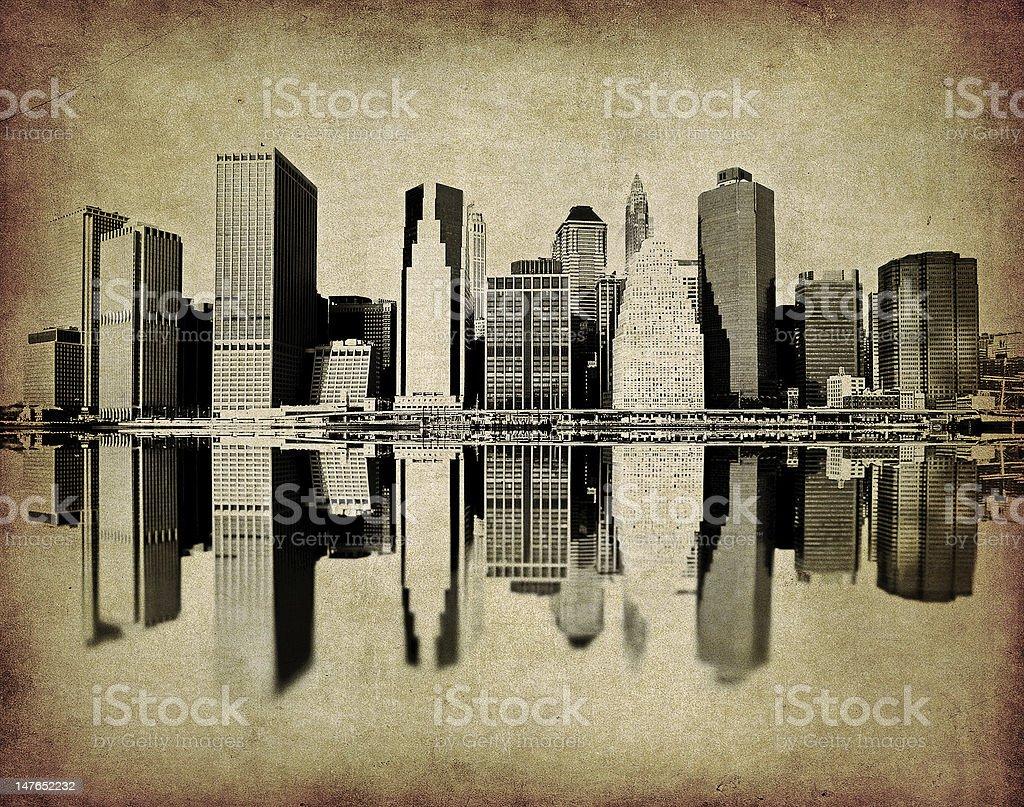 grunge image of new york skyline royalty-free stock photo