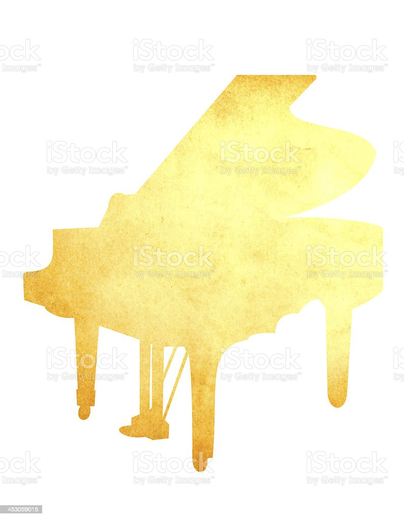 Grunge image of piano from old paper isolated royalty-free stock photo