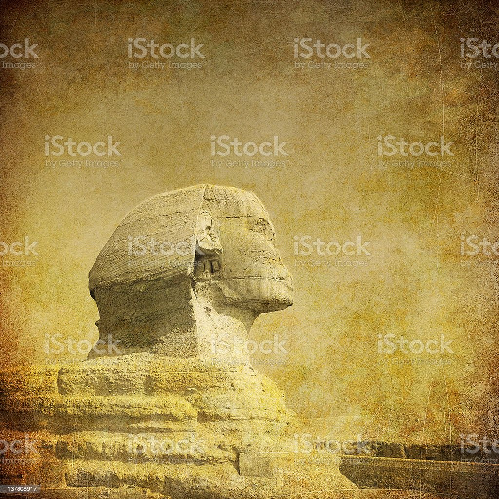 grunge image of sphynx and pyramid royalty-free stock photo